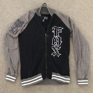 Fox Racing Womens Zipper Jacket Grey Black Zip Up
